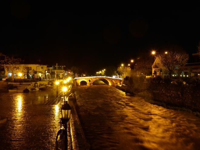 Prizren by night along the Lumbardhi river