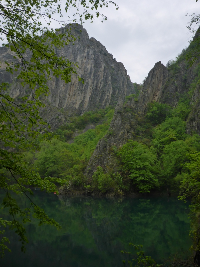 Cliffs rising from Lake Matka