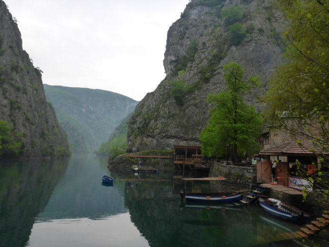 Lake Matka, with boats and kayak rental, as well as a hotel, restaurant and the Church of St. Andrew.