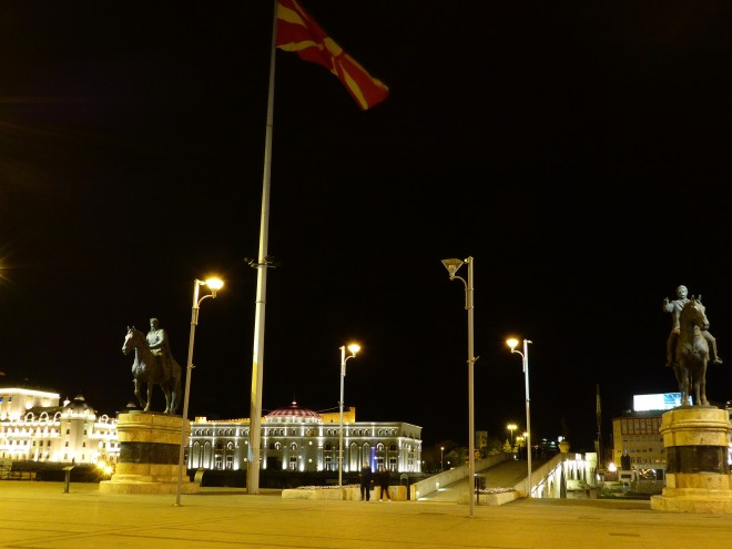 Macedonia square by night