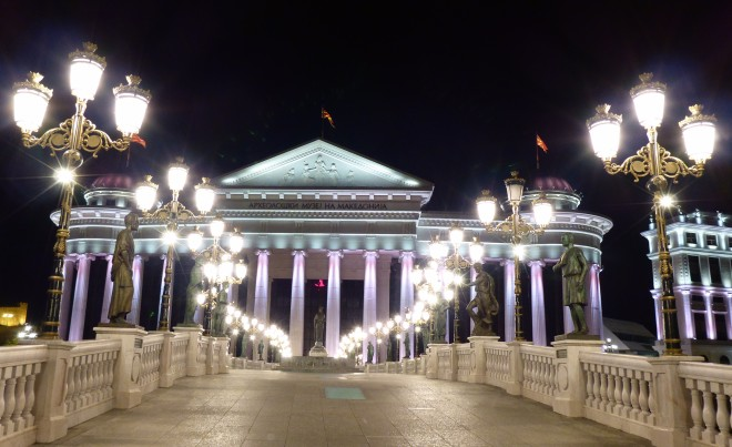 One of the beautiful lit bridges in Skopje.