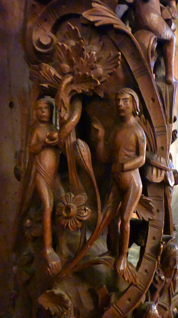Some of the carvings from the story of Adam and Eve.