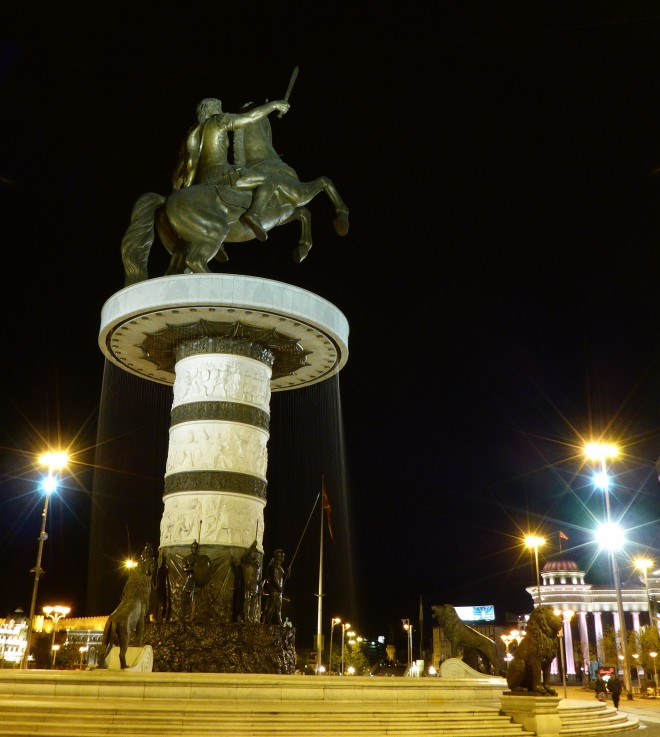 The sculpture of Alexander the Great on Macedonia Square.