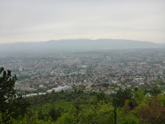 View of Skopje from the road up to Mt. Vodno.