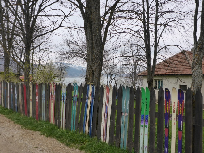 Fence in Mavrovo made by skis.