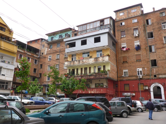 Apartment buildings in Tirana