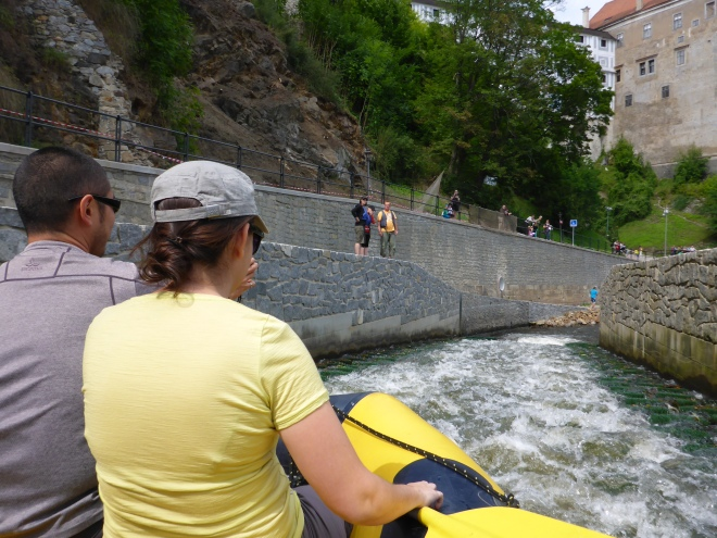 Going down the most advanced streak of the river in Cesky Krumlov