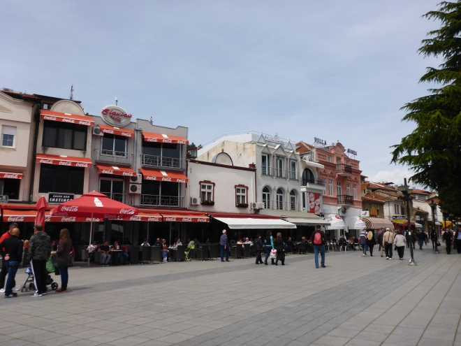 Main street in the old town of Ohrid.