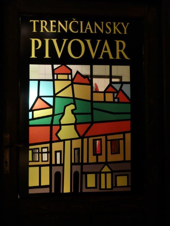 Stained glass window at Trenčiansky pivovar Lanius in Trencin