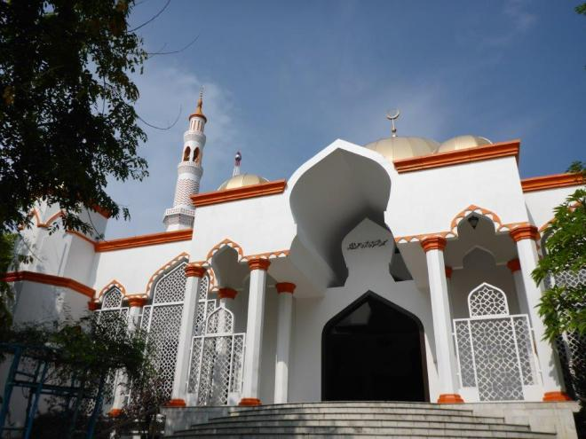 A mosque. 100 % of the inhabitants of the Maldives are Sunni Muslims.