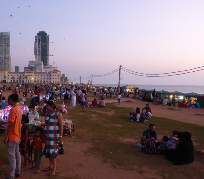 Families and food stalls at Galle Face Green in Colombo