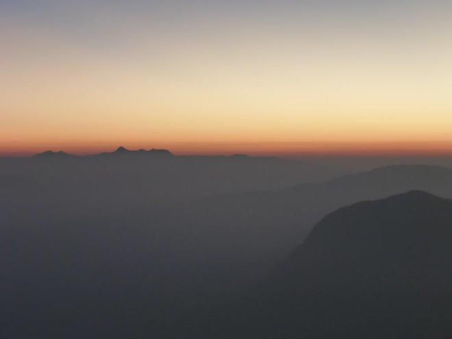 Sunrise seen from the top of Adam's Peak in Sri Lanka