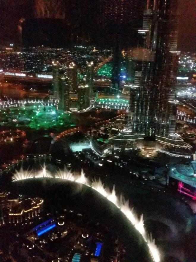 Looking down at the show from Neos bar at the 63rd floor of the hotel The Address Downtown Dubai