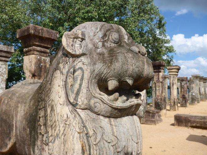 The lion statue in the Council Chamber of Nissankamalla in Island Park, Polonnaruwa
