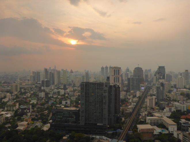 Sunset in Bangkok seen from Octave Rooftop Lounge & Bar at the Bangkok Marriott Sukhumvit