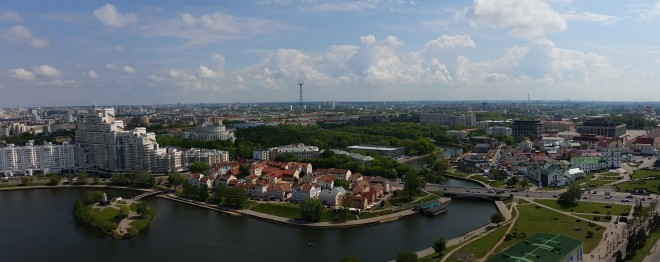 Panorama view of the old part of Minsk in Belarus