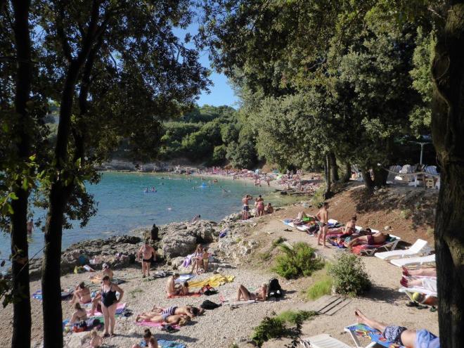 Overcrowded Verudella beach in Pula, Croatia