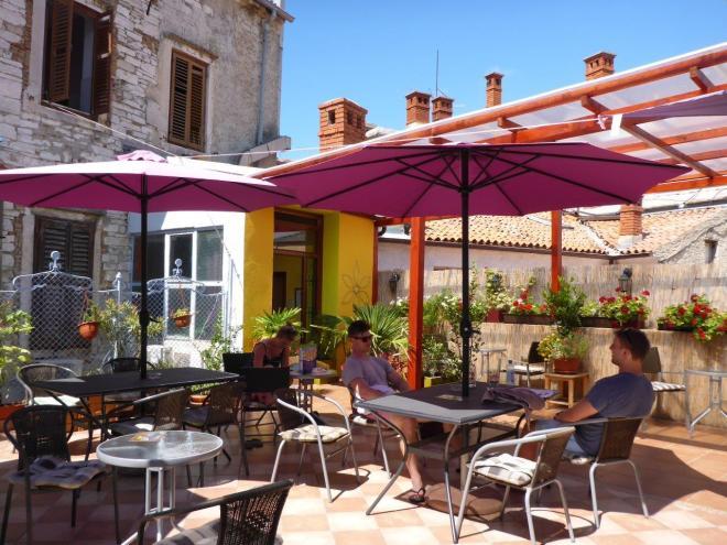 Rooftop terrace at Riva Hostel in Pula, Croatia