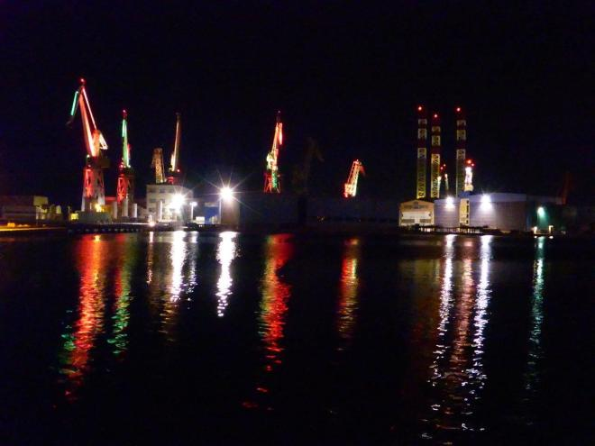 The industrial cranes in Pula, Croatia lit up by night