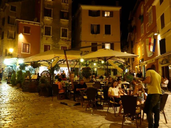 Old town in Rovinj, Croatia by night