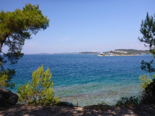 One of the more private spots to swim at Red Island outside Rovinj, Croatia