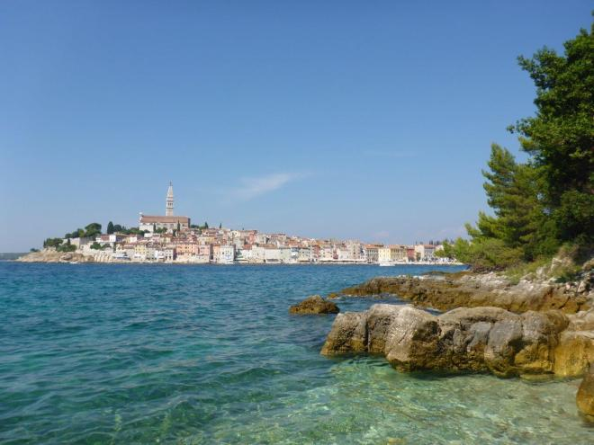 The fantastic view of Rovinj seen from the island of St. Katarina