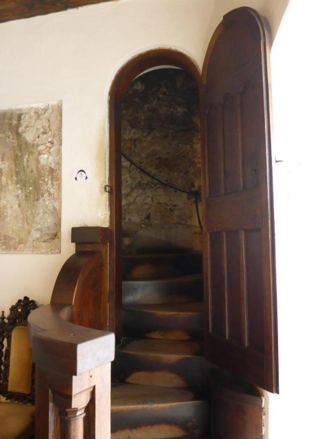 Door to the secret staircase in Bran Castle