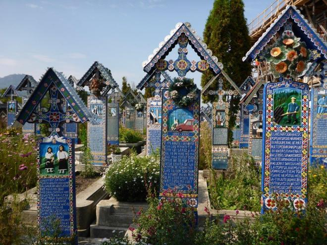 Graves at the Merry Cemetery in Sapanta