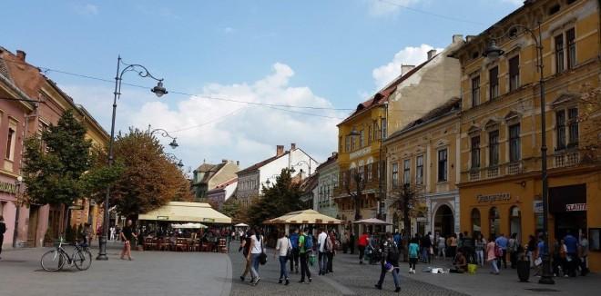 Main street in Sibiu, Romania