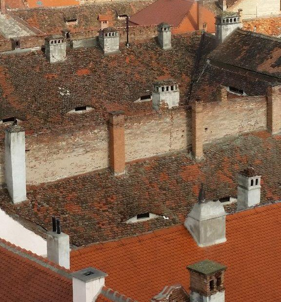 Rooftops with eyes watching you in Sibiu, Romania