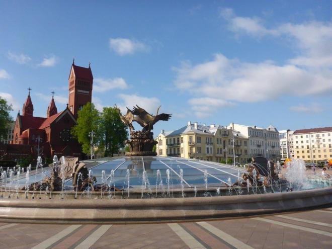 Fountain of Independence and the Church of Saints Simon and Helena in Minsk, Belarus