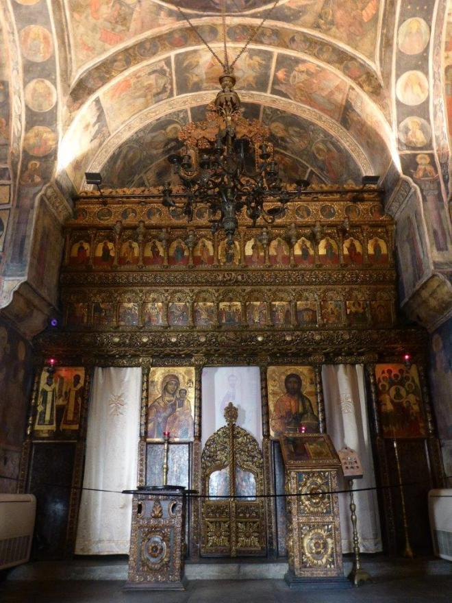 Inside the Stavropoleos Church in Bucharest, Romania