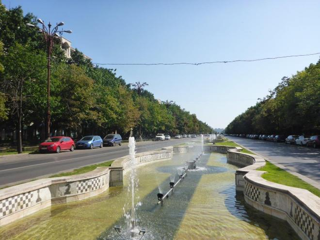 The boulevard leading from the Palace of Parliament in Bucharest, Romania