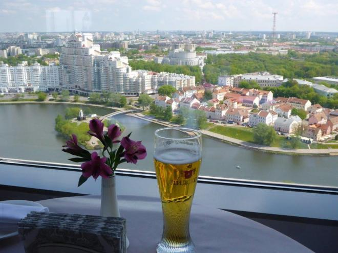 A beer with a view! At The View in Minsk, Belarus