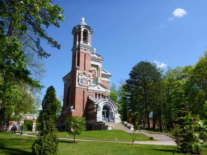 The church next to Mir castle in Belarus