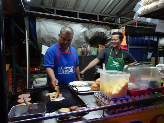 RamIY burger special with egg wrapped around. Food tour in Kuala Lumpur, Malaysia