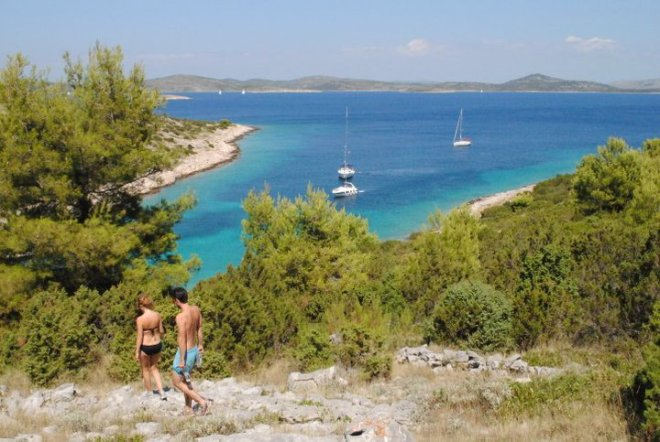 A short hike at the island Zirje. Kornati Islands, Croatia