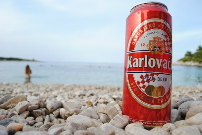 Beach and local beer in Croatia