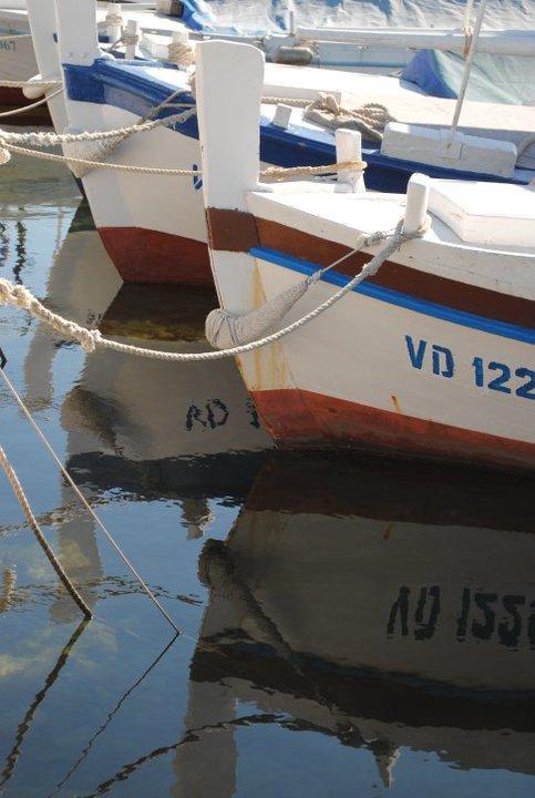 Boats on calm sea in Croatia