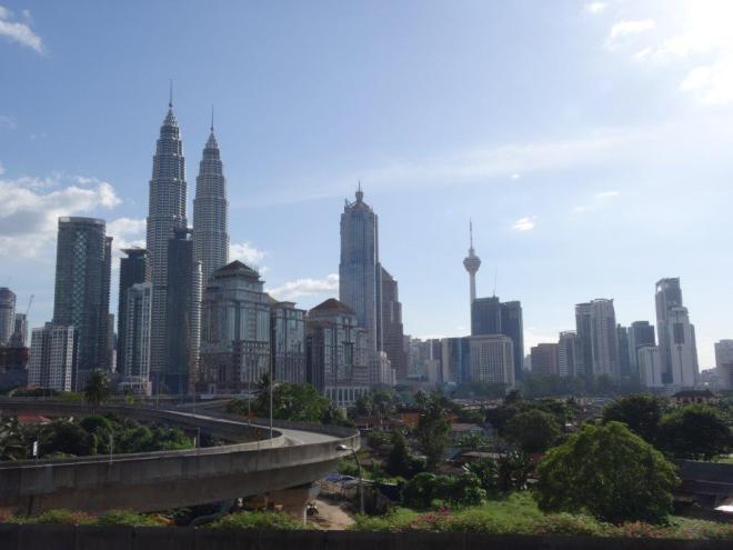 Kuala Lumpur Skyline with Petronas Twin Towers and KL Tower. Malaysia