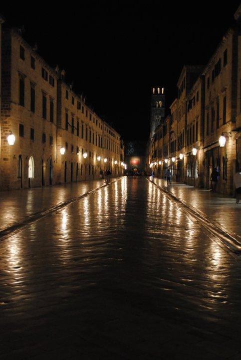 Quiet main street in old town Dubrovnik, Croatia