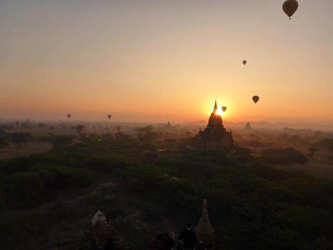Magic sunrise in  Bagan. Myanmar