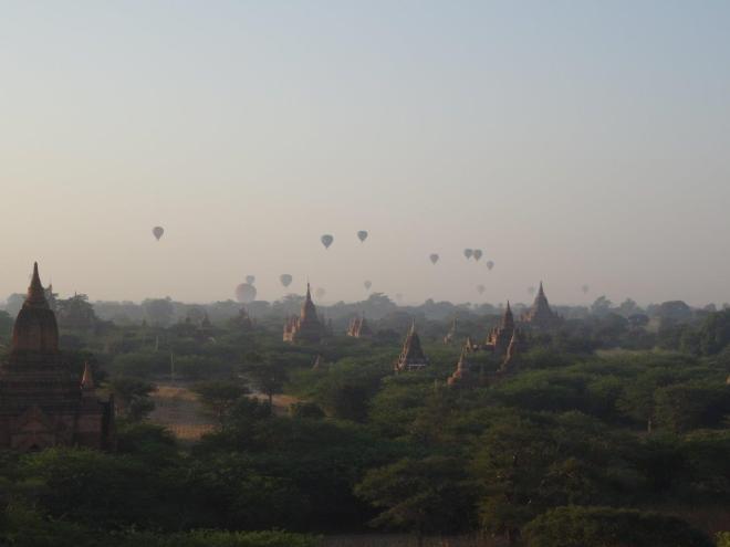 Morning haze after sunrise in Bagan, Myanmar