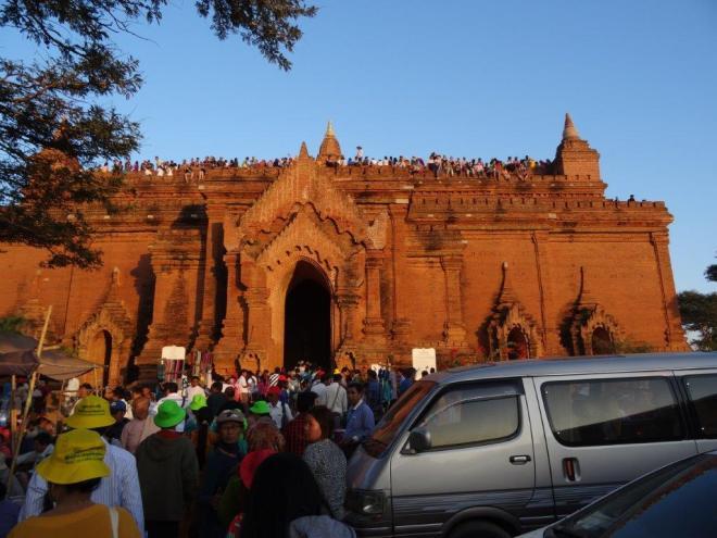 Nightmare at sunset by Pyathada pagoda. Bagan, Myanmar