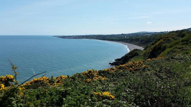 Nice view of the beach in Greystone from the cliff walk between Bray and Greystone outside Dublin, Ireland