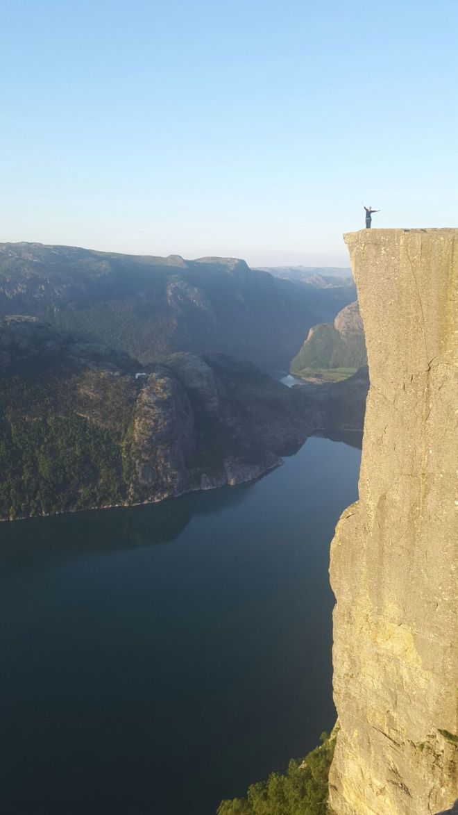 Sensation of freedom at the Pulpit Rock, Preikestolen, Norway