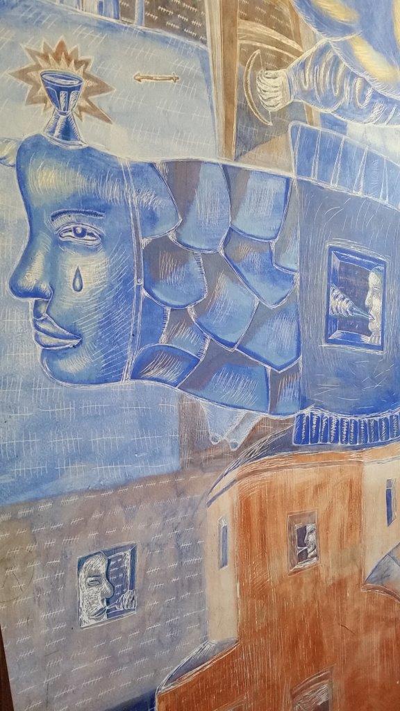 Artistic details in cell 107 at Hostel Celica in Ljubljana, Slovenia