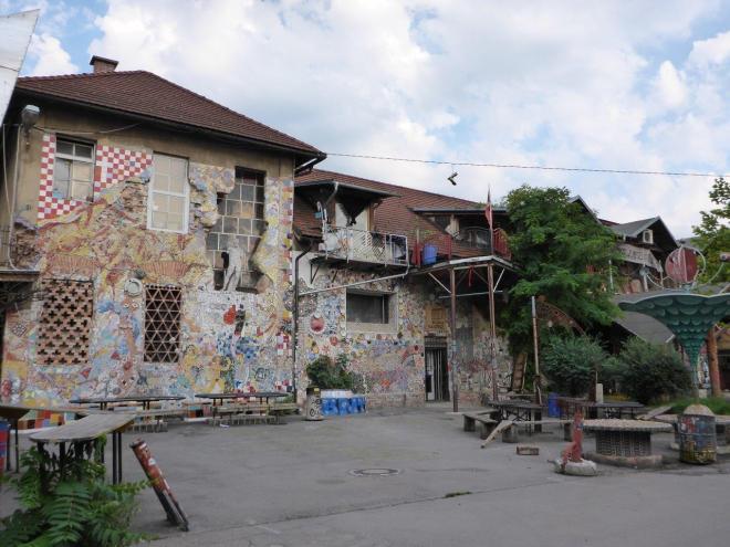 Colorful houses in the Metelkova area by Hostel Celica in Ljubljana, Slovenia