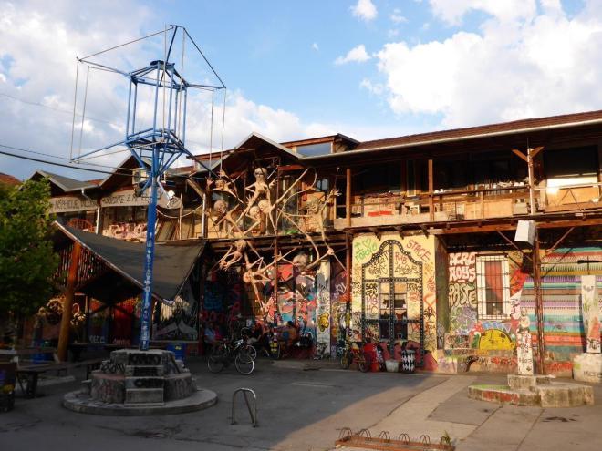 Colourful houses in the Metelkova area by Hostel Celica in Ljubljana, Slovenia