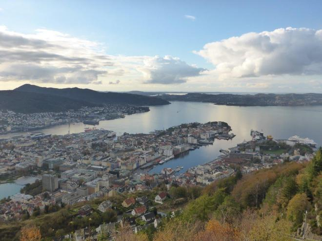 Beautiful view of Bergen from Mt. Fløyen. Norway